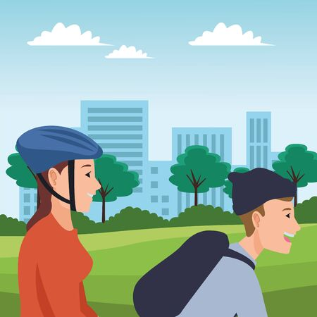 young couple riding on bike and rolling skates cartoon in the city urban scenery background ,vector illustration graphic design. Banque d'images - 133242363