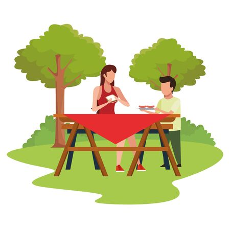 avatar woman and boy eating in a picnic outdoor, colorful design , vector illustration