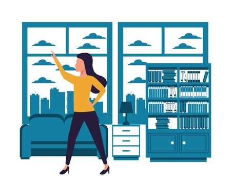 Executive businesswoman with arm up in the apartment with library and coach scenery ,vector illustration graphic design.