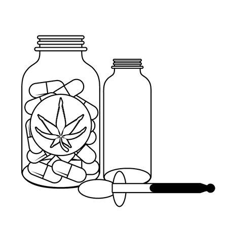 cannabis martihuana medical marijuana medicine sativa hemp oil and pills bottles cartoon vector illustration graphic design