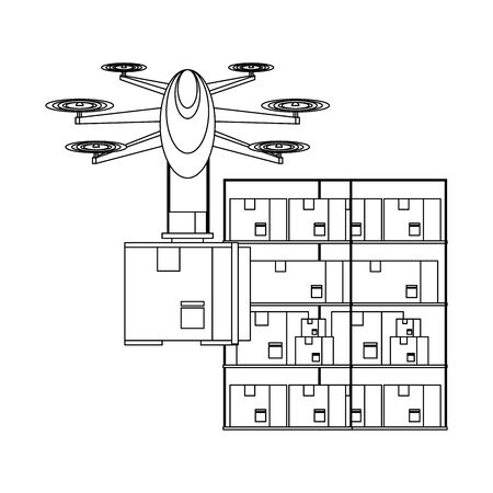 air drone remote control technology device delivery and logistic process with cardboard boxes in merchandise storage cartoon vector illustration graphic design Illusztráció