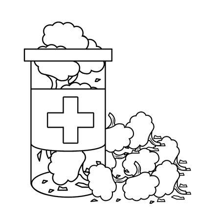 cannabis martihuana medical marijuana medicine sativa hemp buds bottle cartoon vector illustration graphic design