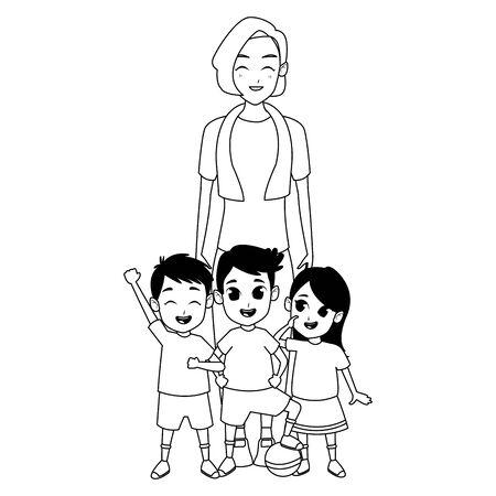 Family grandmother hand of with grandchildrens cartoons Illusztráció