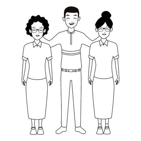 Family two grandmothers with adultt afro grandson vector illustration graphic design