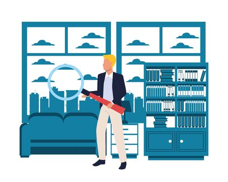 Executive businessman holding magnifying glass in the apartment with library and coach scenery ,vector illustration graphic design.