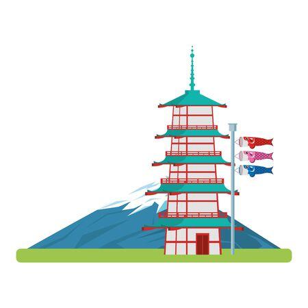 Mountain fuji with pagoda Japanese koinobori flag over white background, vector illustration Stock Illustratie