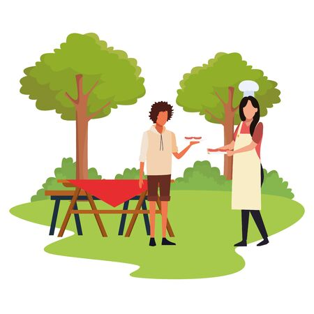 avatar woman with chef hat and man in a picnic outdoor, colorful design , vector illustration