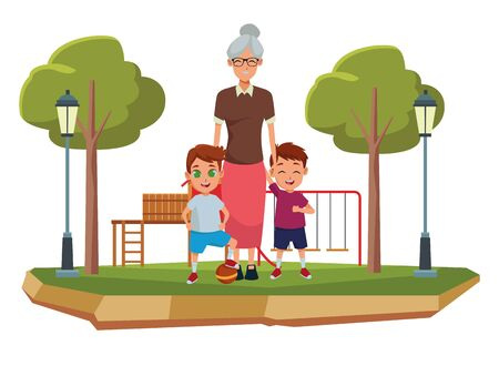 Family grandmother hand of with grandchildrens cartoons with park playground games scenery ,vector illustration graphic design.