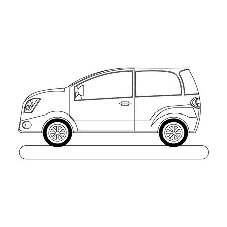 hatchback car icon over white background, vector illustration