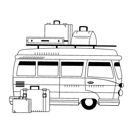travel van with luggage icon over white background, vector illustration Stok Fotoğraf - 133247717