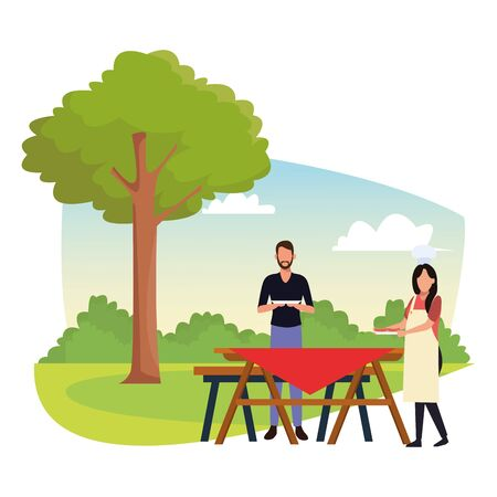 avatar man and woman eating sandwiches in a picnic time, colorful design , vector illustration