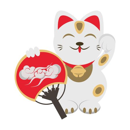 Chinese Lucky cat with hand fan icon over white background, vector illustration