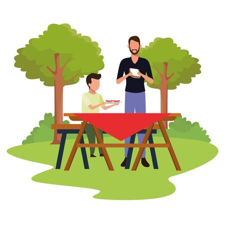 avatar man and boy eating sandwiches in a picnic time, colorful design , vector illustration
