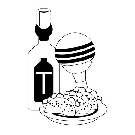 mexico culture and foods cartoons tequila bottle and tacos on plate also the rattle vector graphic design Illustration