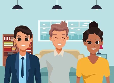 Family hudband and wife with adult son inside home vector illustration graphic design Иллюстрация