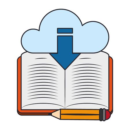 Cloud storage with book and pencil over white background, vector illustration
