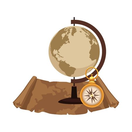 retro world map and compass with paper navigation vector illustration design 일러스트