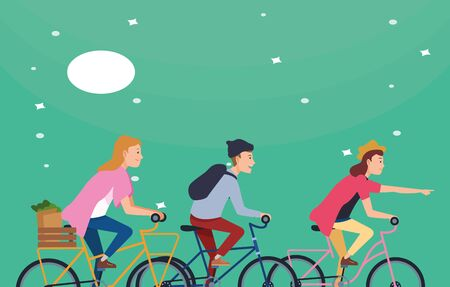 People riding bicycles with backpack and groceries basket at night with moon and stars ,vector illustration graphic design.