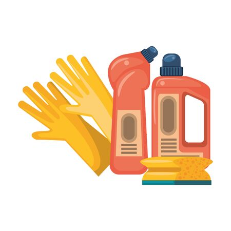 Cleaning equipment and products gloves with soap bottles and sponge vector illustration graphic design.