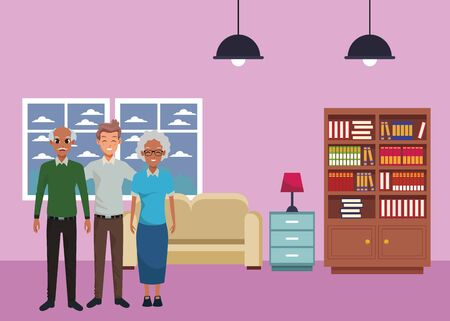 Family old parents with adult son smiling inside home living room with sofa and library scenery ,vector illustration graphic design.