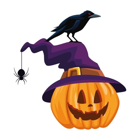 halloween pumpkin with witch hat vector illustration design Çizim