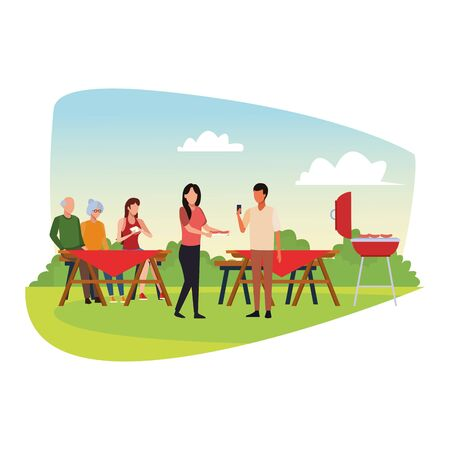avatar friends and family enjoying a a bbq and picnic over white background, colorful design , vector illustration