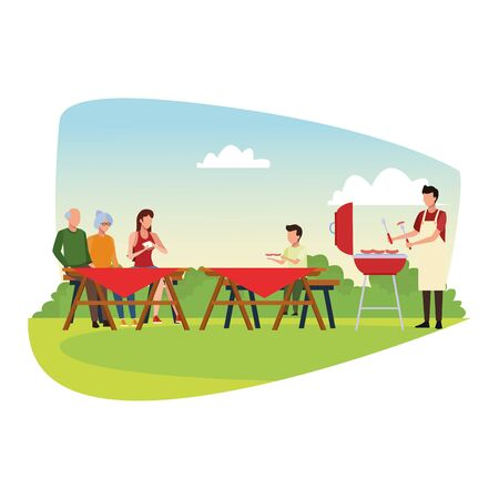 avatar family and little boy enjoying a picnic time outdoor over white background,vector illustration