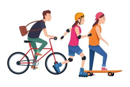 Young people riding with bicycles skateboard and rolling skates wearing accessories ,vector illustration graphic design.