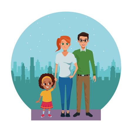 Family young father and mother with little afro daughter in the city urban scenery background ,vector illustration graphic design. Ilustrace