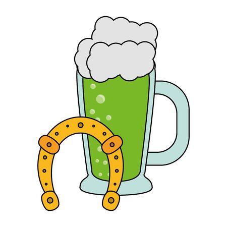 saint patricks day irish tradition beer with horsehoe cartoon vector illustration graphic design