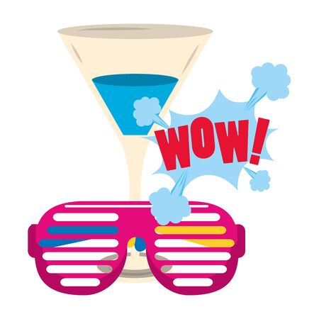 cocktail drink with retro glasses and pop art design of wow word eclamation over white background, vector illustration