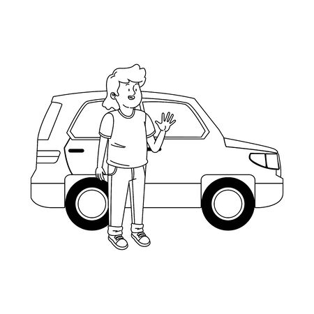 cartoon teenager boy and car icon over white background, vector illustration Banque d'images - 133253983