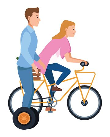 Friends riding electric scooter and bicycle cartoon ,vector illustration graphic design.