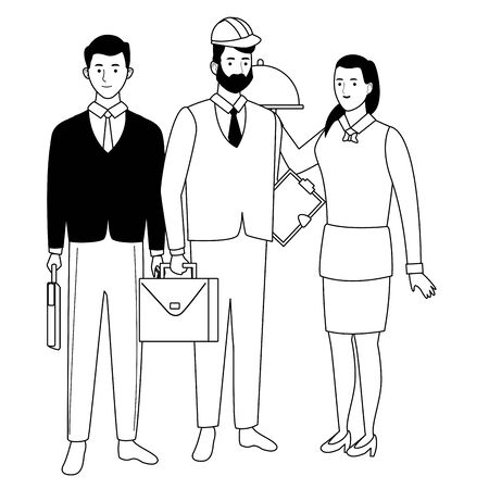 Professionals workers smiling with work tools cartoons ,vector illustration graphic design.