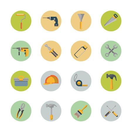 bundle of construction tools set icons vector illustration design
