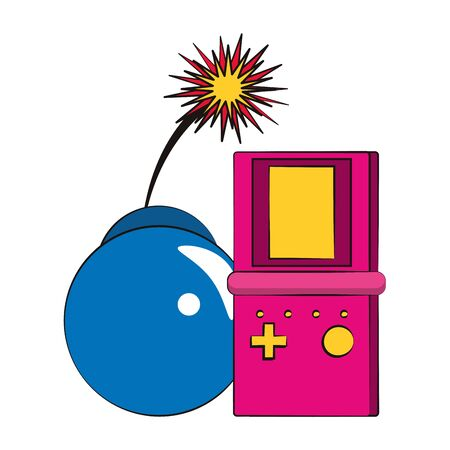 pop art design with retro videogame portable and bomb icon over white background, vector illustration