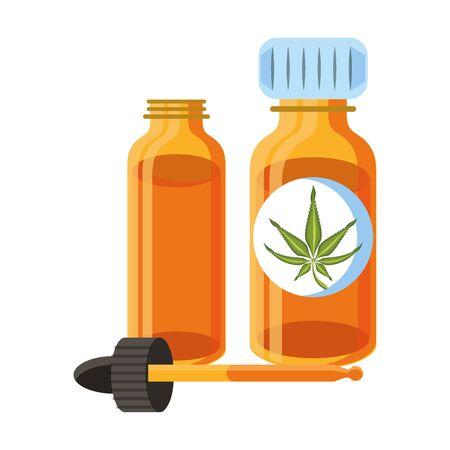cannabis martihuana medical marijuana medicine sativa hemp oil bottles cartoon vector illustration graphic design Иллюстрация