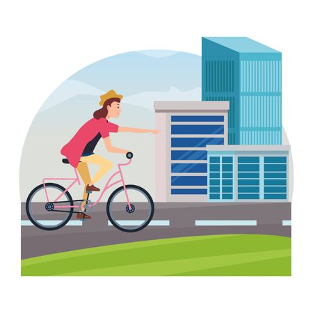 Young woman with hat riding on bike cartoon in the city, urban scenery ,vector illustration graphic design.