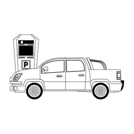 parking car and parking meter over white background, vector illustration Stock Vector - 133253370