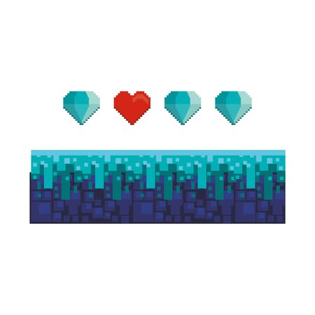 videogame pixelated retro art digital entertainment, diamonds with heart isolated cartoon vector illustration graphic design