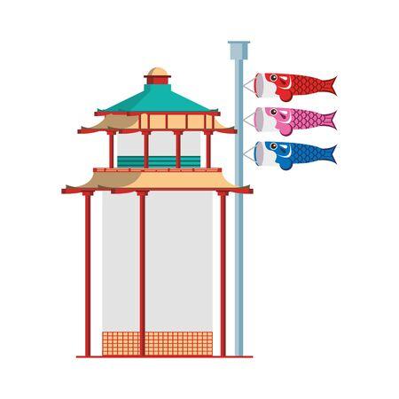 asian temple and Japanese koinobori flag sign over white background, vector illustration Stock Illustratie
