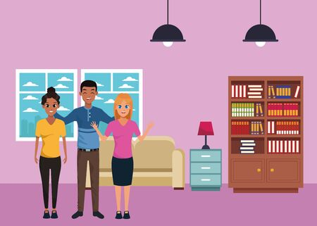 Young friends smiling and greeting with formal clothes inside home living room with sofa and library scenery ,vector illustration graphic design.