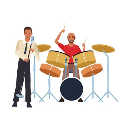 singer and musician playing drums set over white background, colorful design. vector illustration Çizim