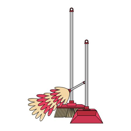 Cleaning equipment and products cobweb brush and dustpan with broom vector illustration graphic design.
