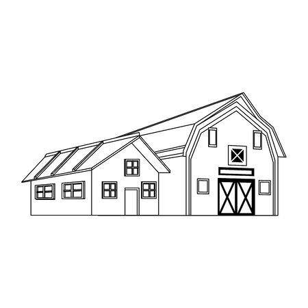 farm house and wooden farm barn icon over white background, black and white design. vector illustration