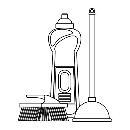 Cleaning equipment and products soap bottle with toilet pump and brush vector illustration graphic design.
