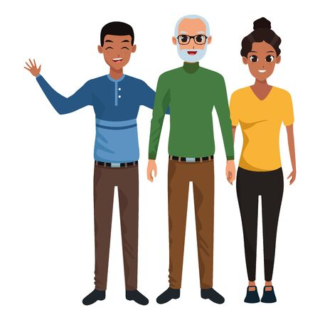 Family old father with adult daughter and son vector illustration graphic design Illustration