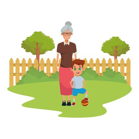 Family grandmother taking care of grandson cartoon in nature park outdoors scenery background ,vector illustration graphic design. Illusztráció