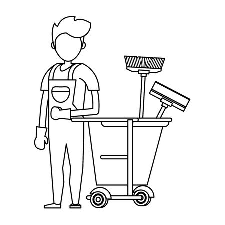 Cleaner worker with cleaning products in cart equipment vector illustration graphic design.