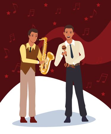 jazz music band with saxophonist and musician with maracas, colorful design. vector illustration